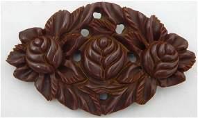 Hawaiian Hand Carved Brown Bakelite Brooch, c1940s