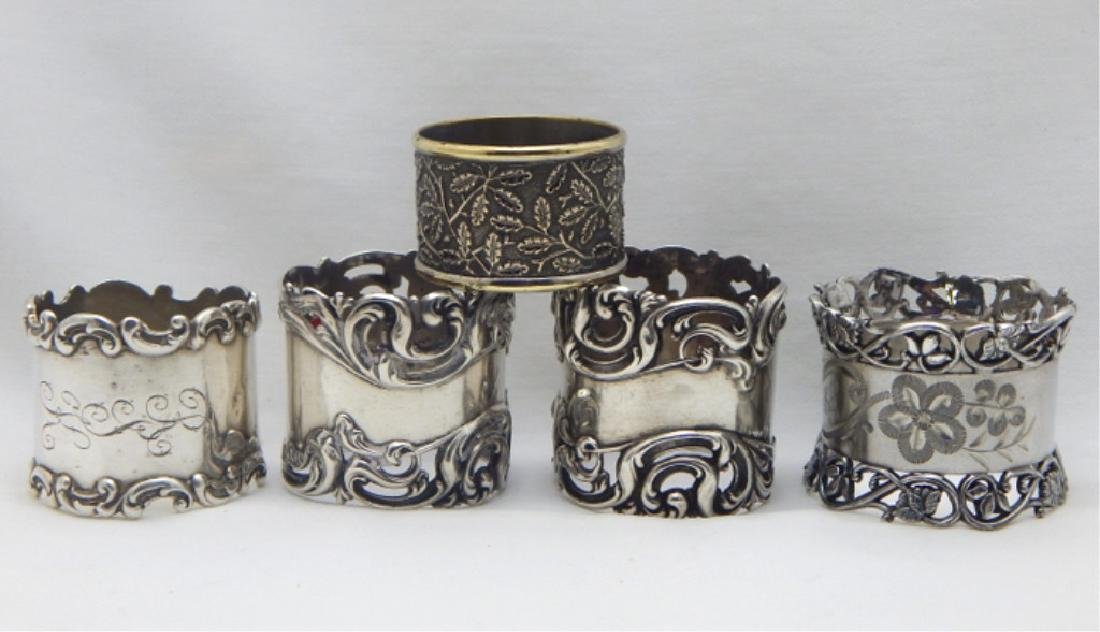 5 Victorian Heavy Sterling Silver Napkin Rings