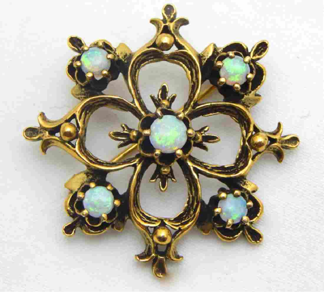 Vtg. 14k Yellow Gold Fire Opal Pendant Brooch