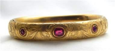 14k Yellow Gold and Ruby Bangle Bracelet