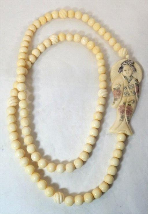 Old Carved Bone Bead Necklace W Figural Pendant Sep 01 2019 Grumpy S Auction In Ca