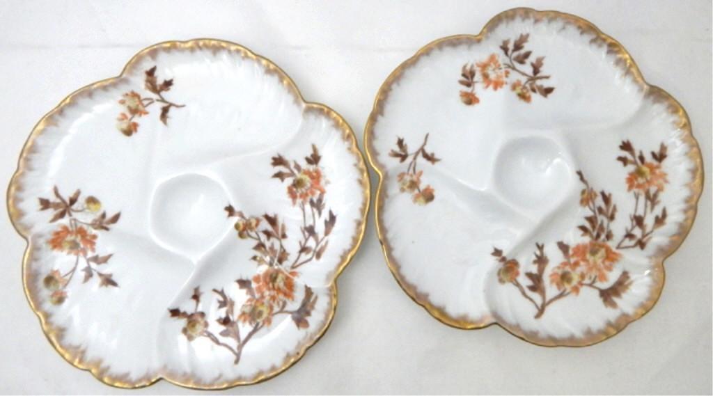 Pair Haviland Limoges France Oyster Plates, c1880