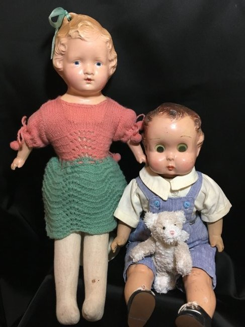 Lot of 2  Composition Head/Cloth Bodied  Dolls