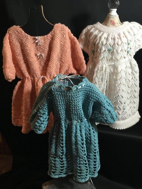 Lot of 3 Vintage Hand Knit/Crocheted Doll Dresses