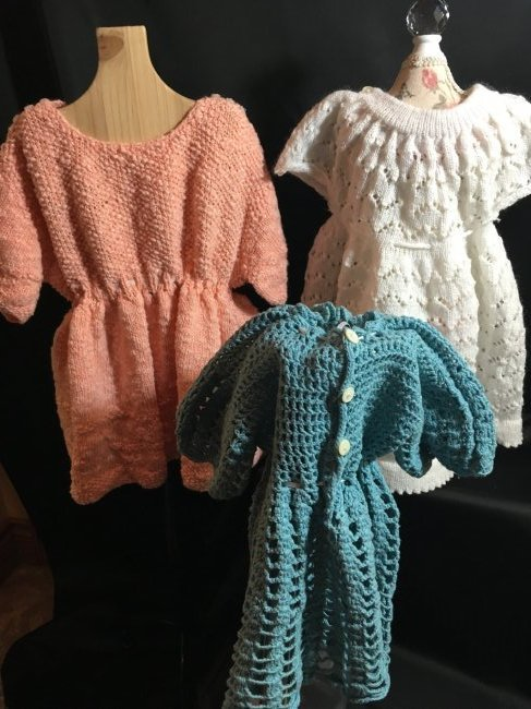 Lot of 3 Vintage Hand Knit/Crocheted Doll Dresses - 2