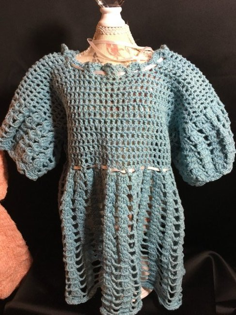 Lot of 3 Vintage Hand Knit/Crocheted Doll Dresses - 4