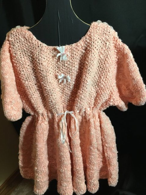 Lot of 3 Vintage Hand Knit/Crocheted Doll Dresses - 6