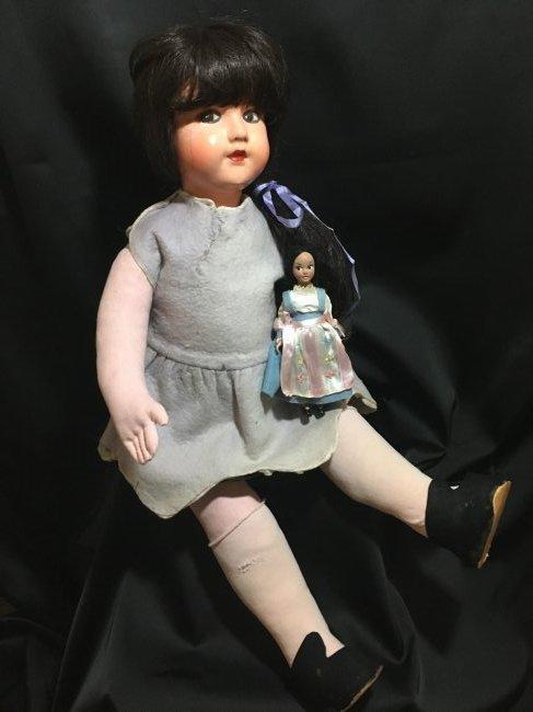 """25"""" Vintage Italian Doll w Vintage 6"""" Lenci Doll"""