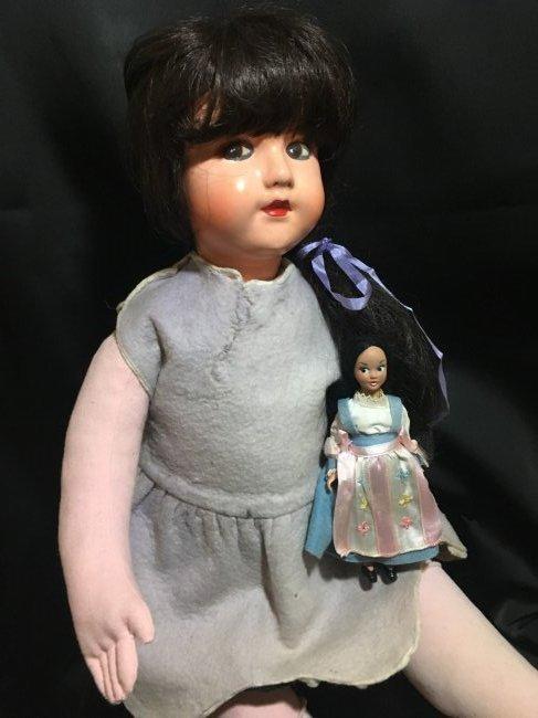 """25"""" Vintage Italian Doll w Vintage 6"""" Lenci Doll - 2"""