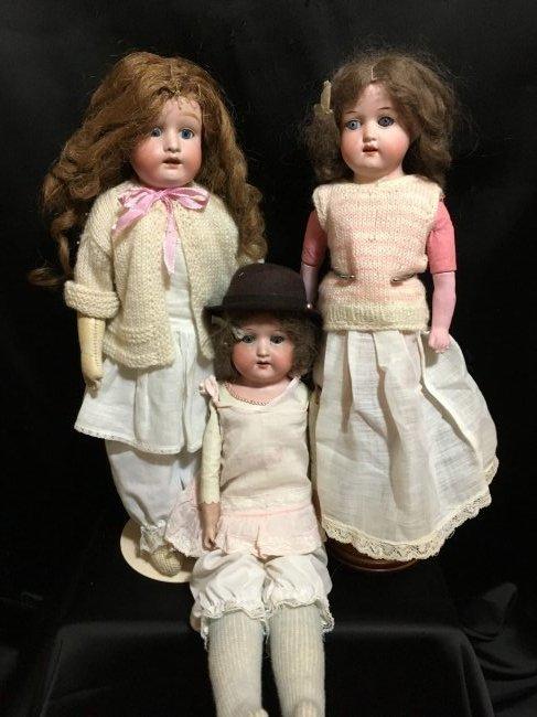 Lot of 3 Antique Bisque Shoulder Head Dolls