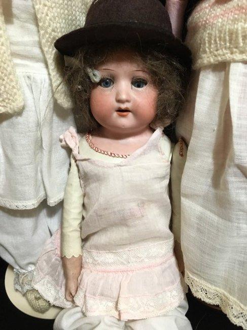 Lot of 3 Antique Bisque Shoulder Head Dolls - 2