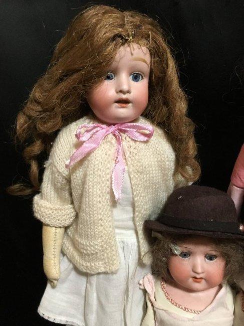 Lot of 3 Antique Bisque Shoulder Head Dolls - 3