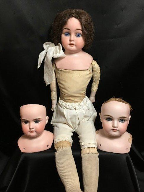 Lot of 3 Antique Bisque Shoulder Heads