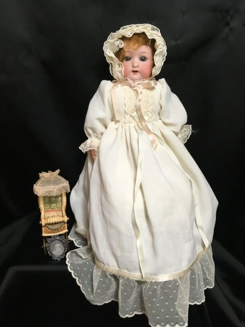 Antique Bisque Heubach Shoulder Head  Hair Stuffed Body