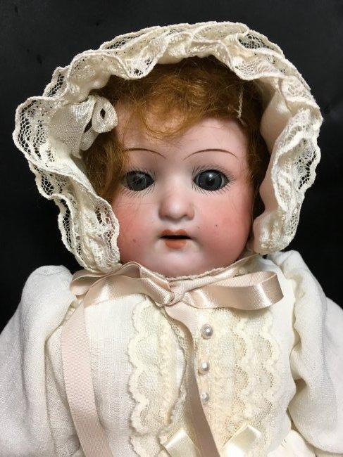 Antique Bisque Heubach Shoulder Head  Hair Stuffed Body - 2