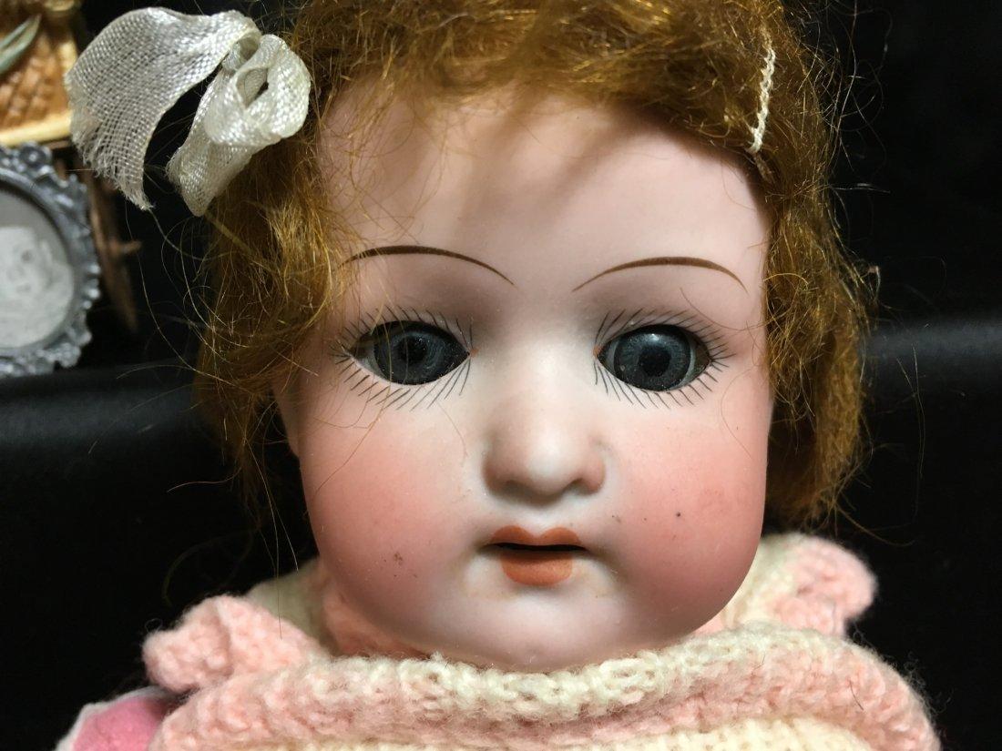 Antique Bisque Heubach Shoulder Head  Hair Stuffed Body - 3