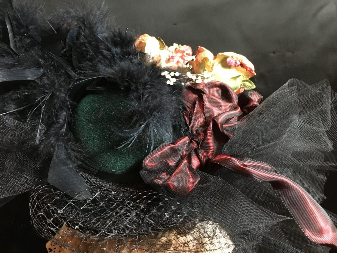Antique Styled Elaborately Decorated Doll Hat - 2