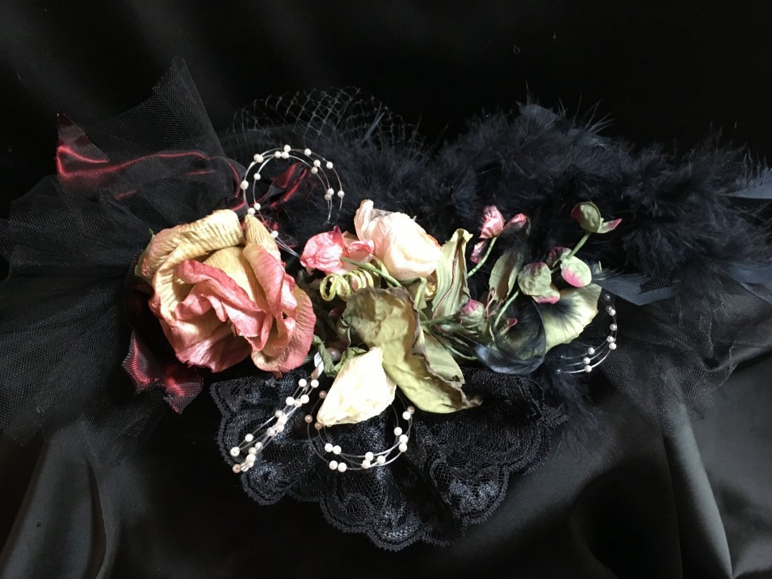 Antique Styled Elaborately Decorated Doll Hat - 4