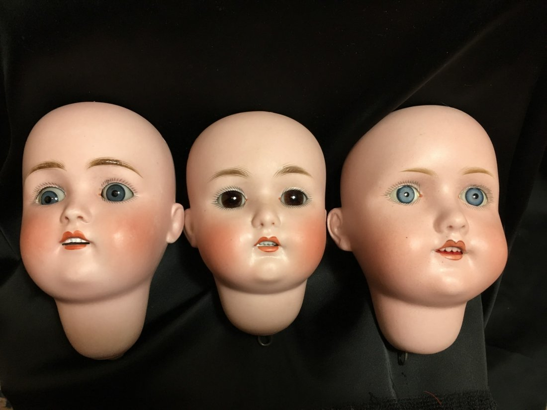 Lot of 3 Antique Bisque Doll Heads