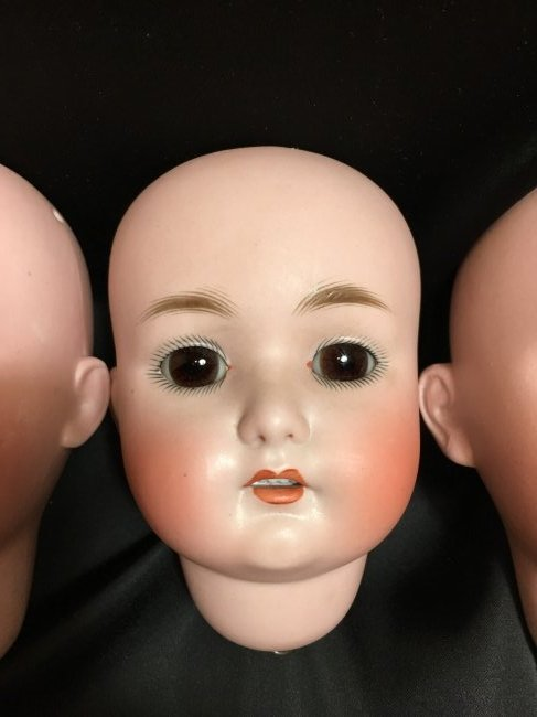 Lot of 3 Antique Bisque Doll Heads - 3