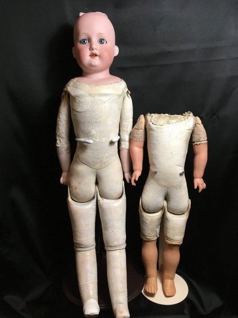 Antique Leather Bodied Doll & Leather Body