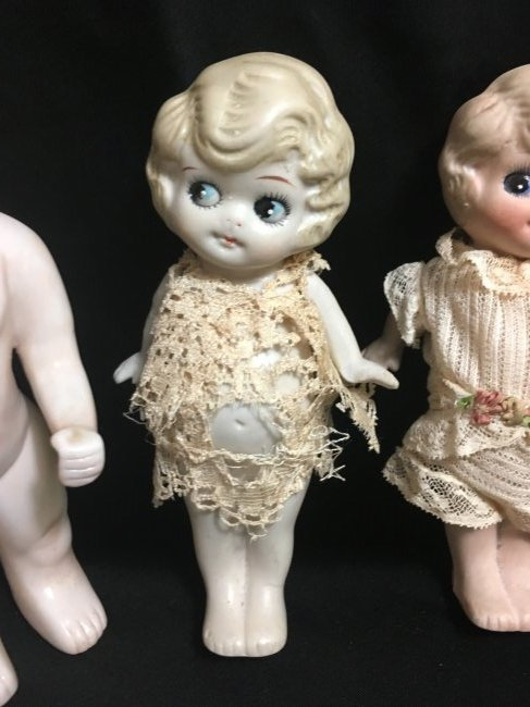 Lot of 3 All Bisque Dolls. - 3