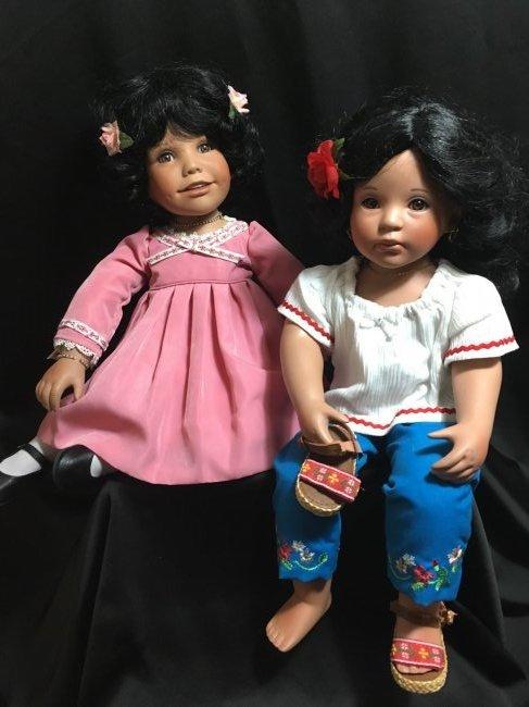 Lot of 2 Porcelain Dolls ~ Danbury Mint Latina Series ~