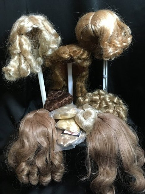 Lot of 8 Vintage Doll Wigs Human Hair & Other Fibers