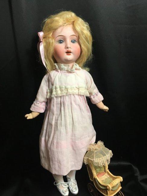 """Precious 14"""" Antique Recknagel Bisque Head Doll"""