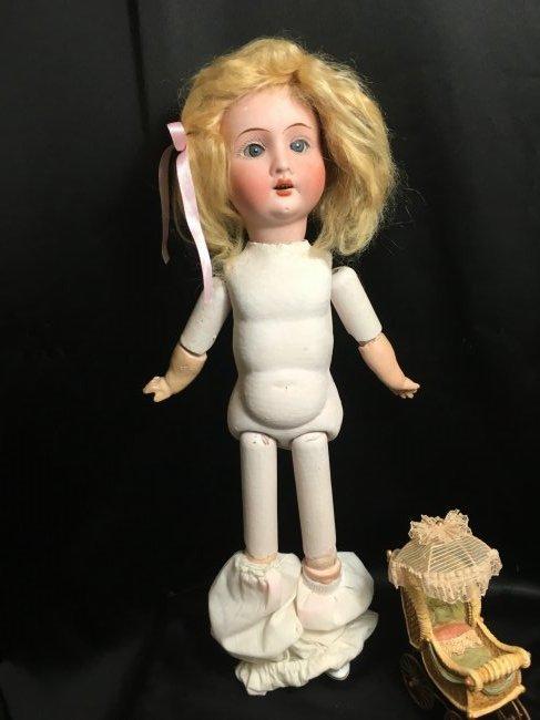 """Precious 14"""" Antique Recknagel Bisque Head Doll - 5"""