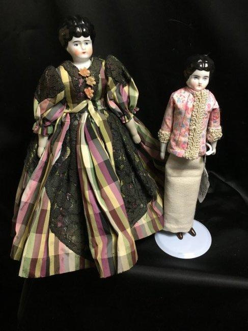 Lot of 2 Antique German China Head Dolls