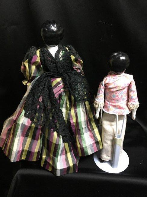 Lot of 2 Antique German China Head Dolls - 2