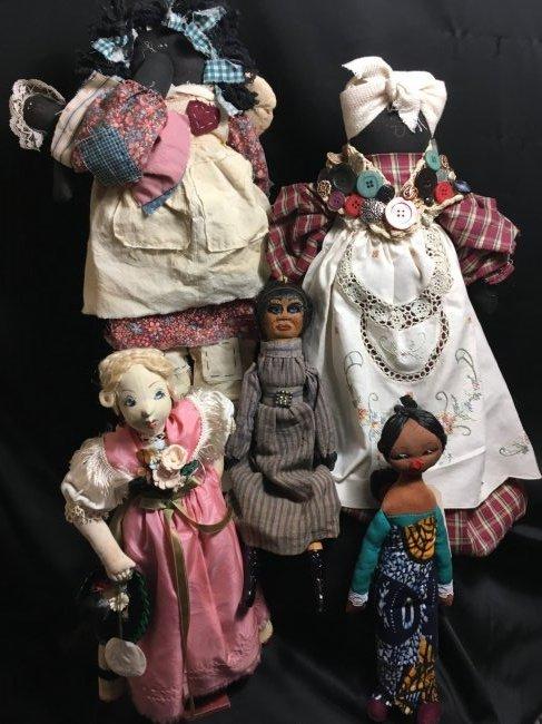 Lot of 5 Antique/Vintage Folk Art Dolls