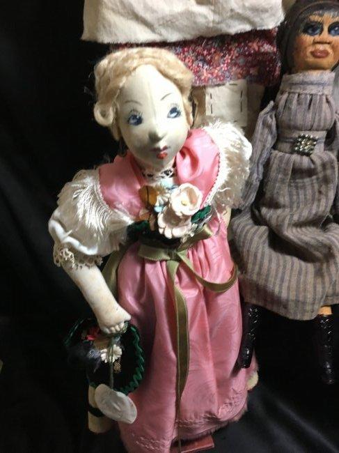 Lot of 5 Antique/Vintage Folk Art Dolls - 2