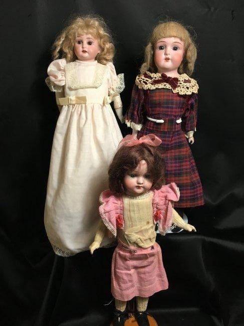 Lot of 3 Antique German Bisque Head Dolls One Original