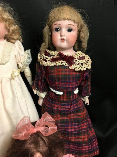 Lot of 3 Antique German Bisque Head Dolls One Original - 3