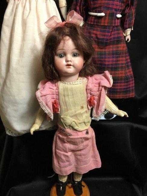 Lot of 3 Antique German Bisque Head Dolls One Original - 4