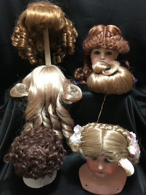 Lot of 6 Vintage Dolls Wigs New