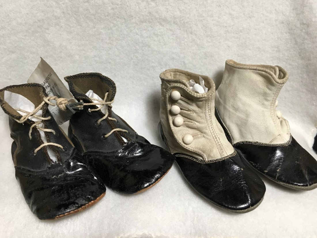 2  Pairs of Antique Leather Doll Shoes for Larger Dolls