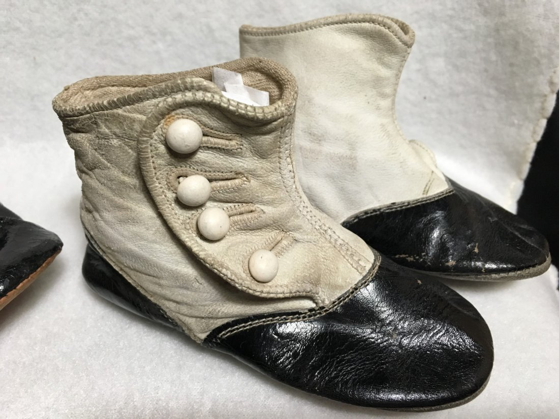 2  Pairs of Antique Leather Doll Shoes for Larger Dolls - 2