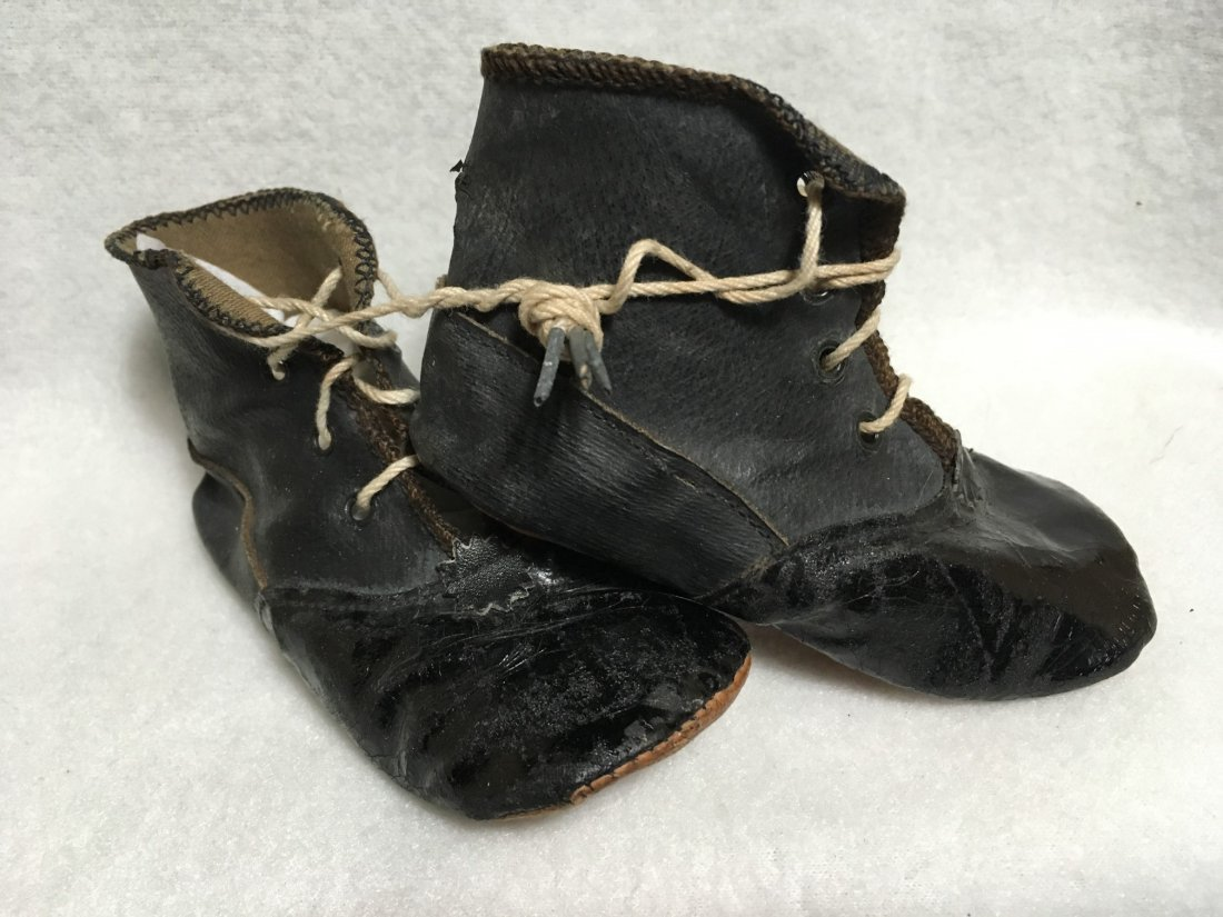 2  Pairs of Antique Leather Doll Shoes for Larger Dolls - 6