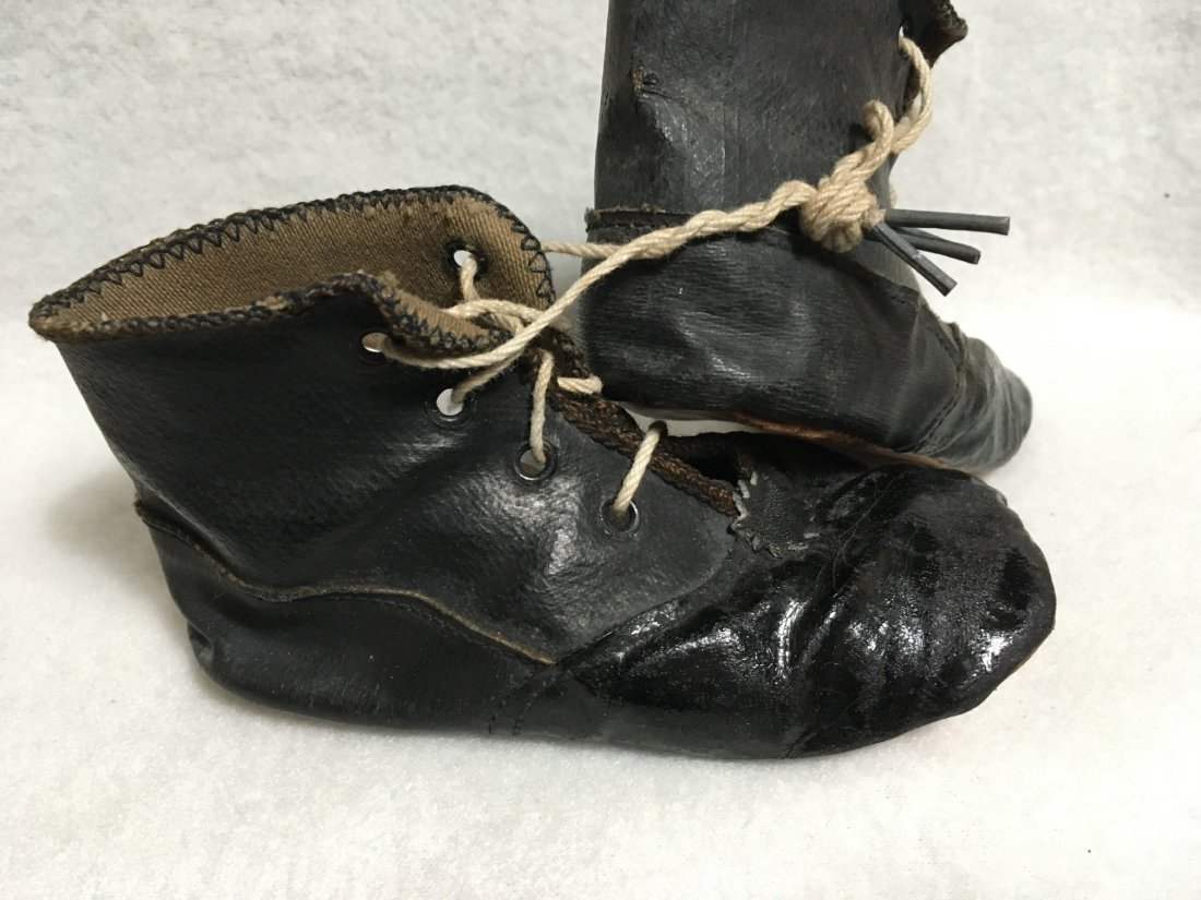 2  Pairs of Antique Leather Doll Shoes for Larger Dolls - 7