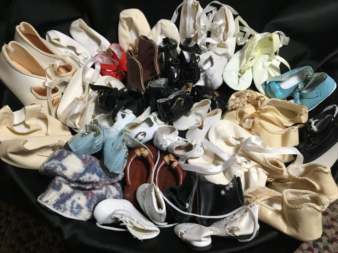 Great Lot of Vintage Doll Shoes 30 Pairs