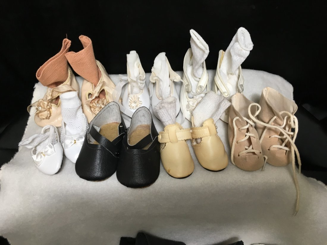 Lot of 16 Pairs of Vintage Doll Shoes Some w Socks. - 5