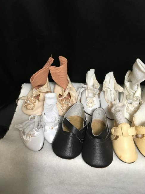 Lot of 16 Pairs of Vintage Doll Shoes Some w Socks. - 6