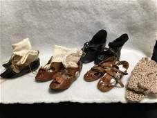 Precious Lot of Ant/Vtg doll Shoes Jumeau Bebe w Socks