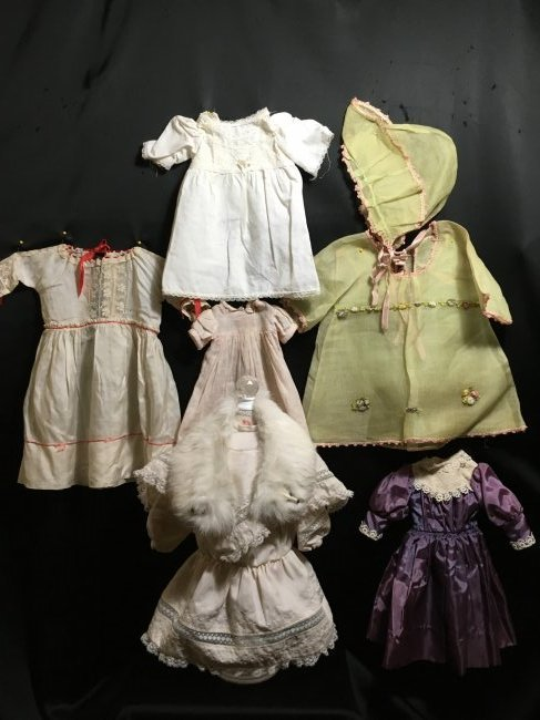 Lot of 6 Vintage Doll Dresses One is Factory