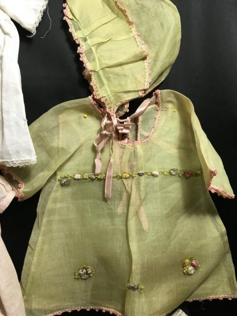Lot of 6 Vintage Doll Dresses One is Factory - 6