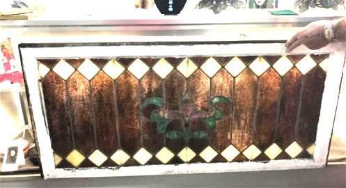 Vintage Fleur De Lis Stained Glass Window Victorian