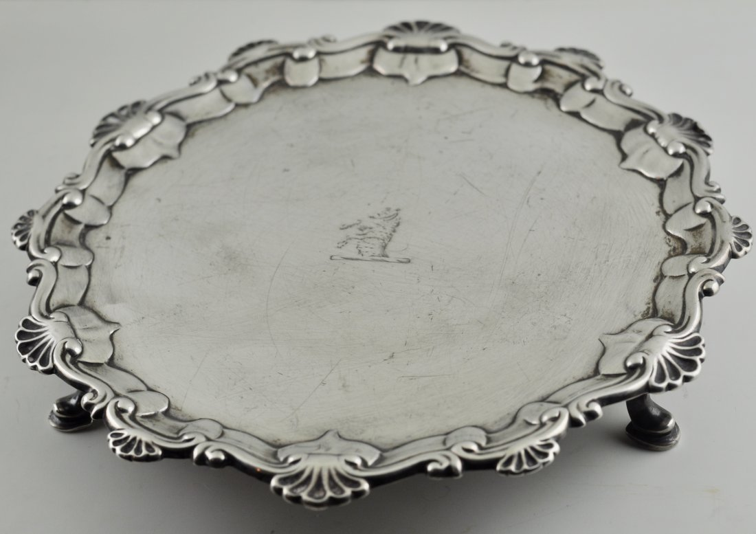 Sterling Silver London circa 1758 Footed Salver